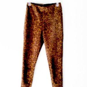 Zara Animal Print Velvet Leggings (elastic waist)S